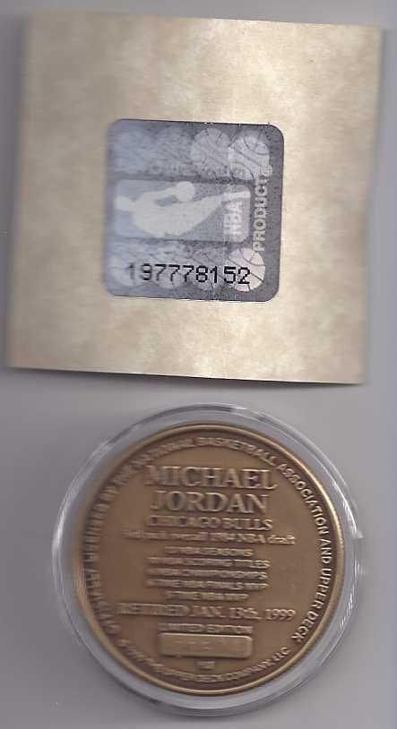 MICHAEL JORDAN RETIRED JAN 13 1999 Bronze Coin LTD EDT