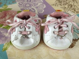 Build A Bear Workshop Skechers White Pink Tennis Shoes Sneakers Pink Heart Charm - $14.99