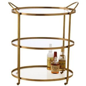 BRASS & GLASS OVAL Bar Cart with Wheels, MID CENTURY MODERN, Hollywood Glamour