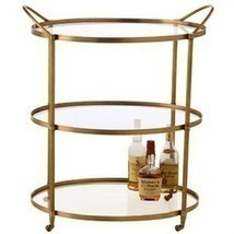 BRASS & GLASS OVAL Bar Cart with Wheels, MID CENTURY MODERN, Hollywood G... - £1,061.10 GBP