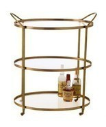 BRASS & GLASS OVAL Bar Cart with Wheels, MID CENTURY MODERN, Hollywood G... - £1,052.48 GBP