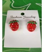 Pretty Strawberry Sparkle Shiny Jewels Jewel Pierced Stud Earrings Brand... - $9.99