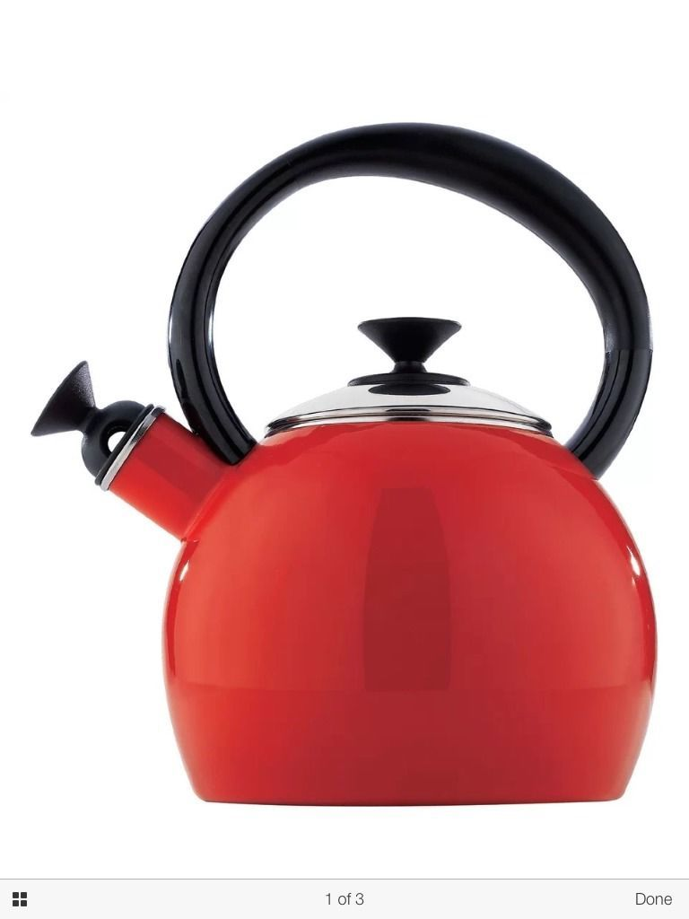 Modern Teapot Enamel Stainless Whistling Pot Tea Coffee Cup Kettle Set Gift Red