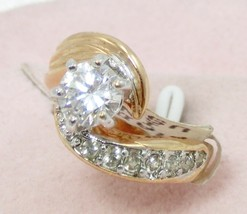 7mm CZ/6 small diamond similar18kt GE woman engage wed party cocktail ri... - $19.95