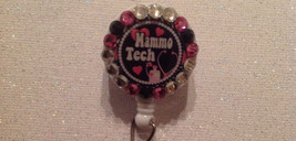 Mammo Tech Badge Reel Id Holder Swarovski Crystals Pink alligator clip H... - $9.95