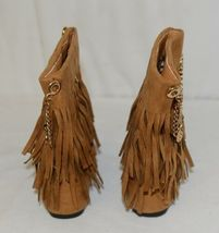 Styluxe Scream Tan Suede Girls 13 Fringe Boots With Chain Plus 3 Charms image 4