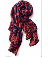 Stella & Dot UNION SQUARE SCARF MARINE BLUE/RICH RED Barcode Tag on side... - $43.64