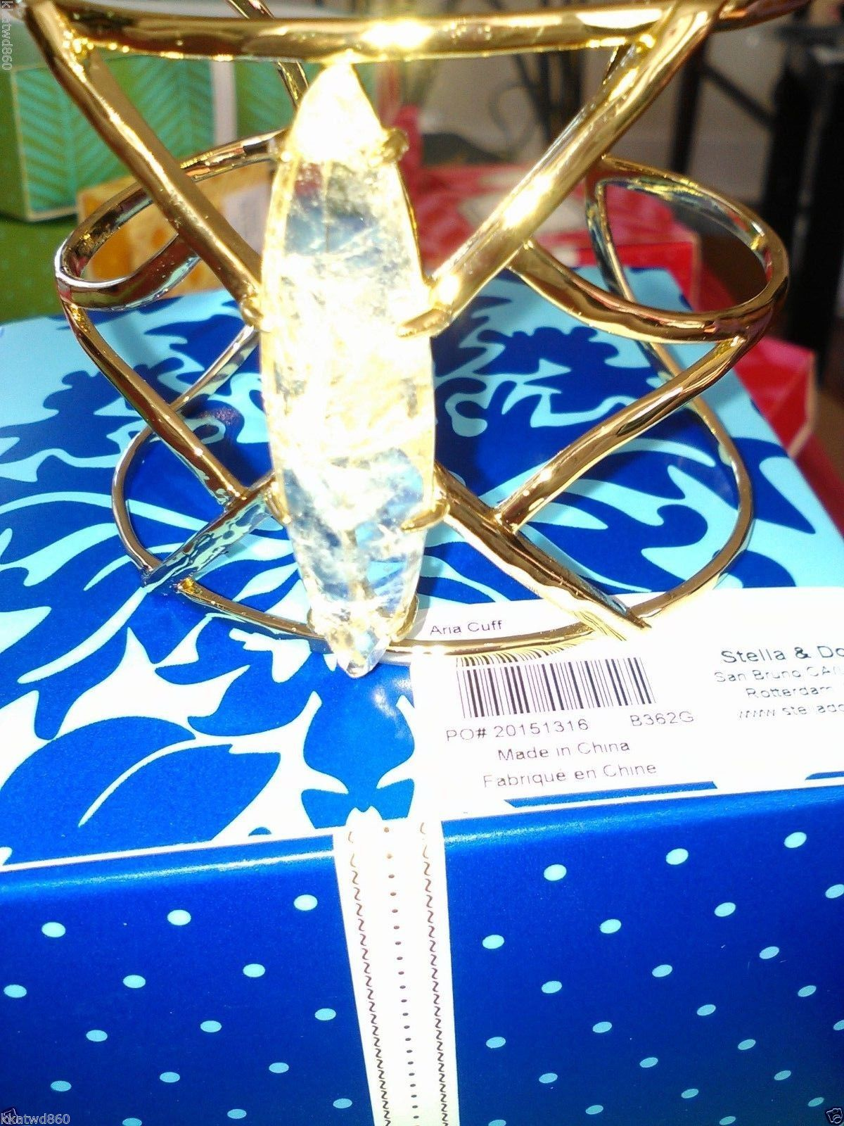 STELLA & DOT ARIA CUFF BRACELET Gold quartz New IN BOX Barcode TAG ON SIDE Fall