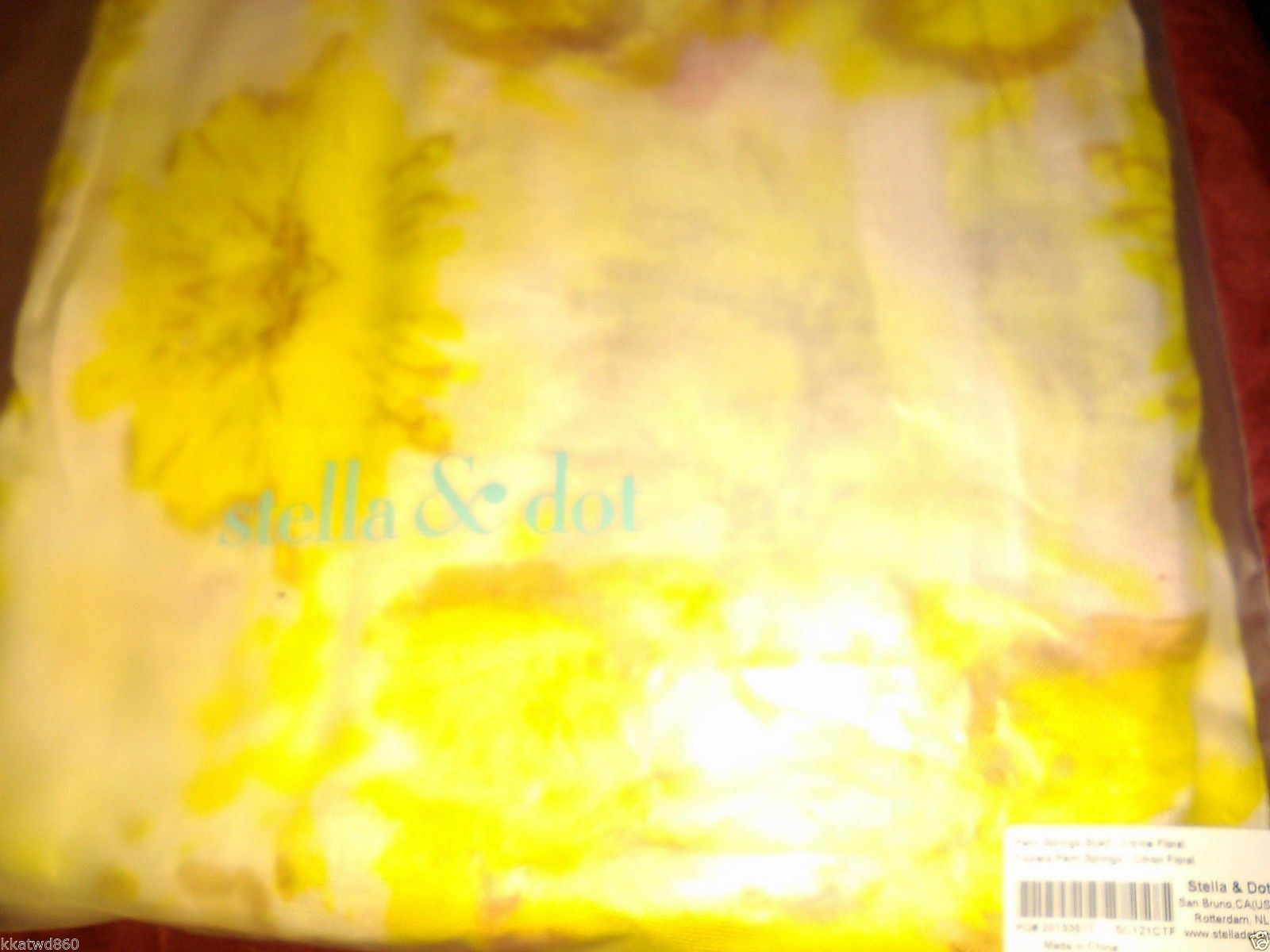 STELLA & DOT PALM SPRINGS SCARF Barcode Tag on side bag NEW yellow and white
