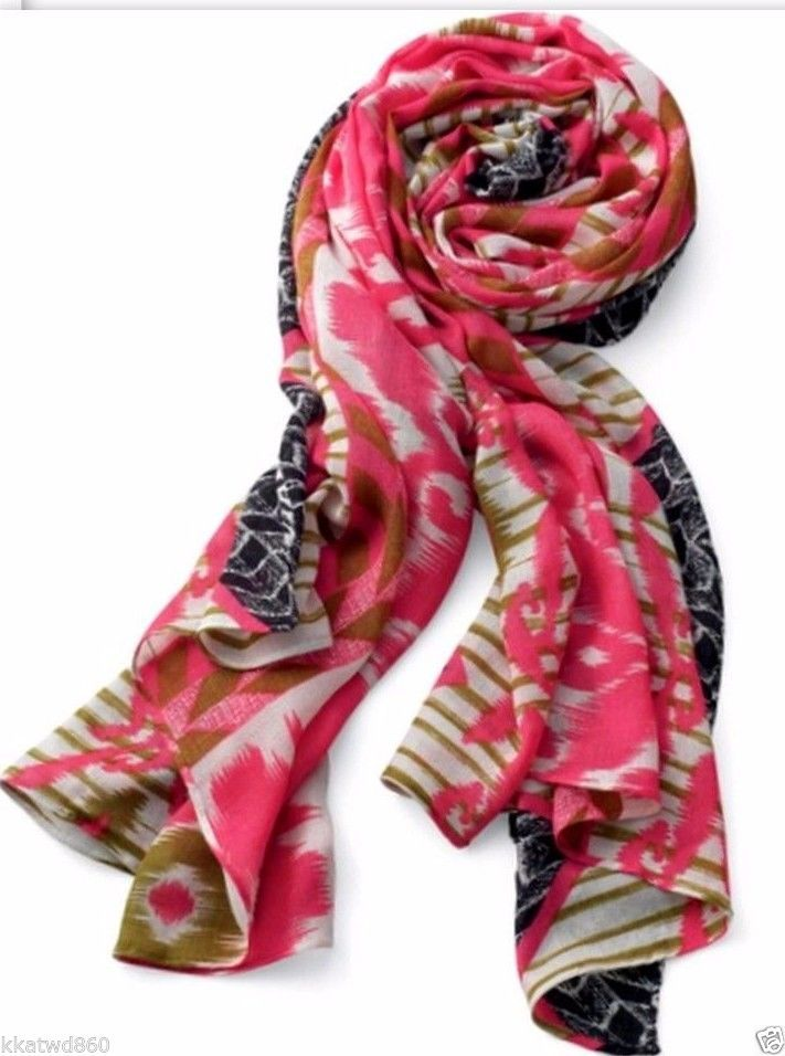 STELLA & DOT UNION SQUARE SCARF - GEO IKAT with Barcode Tag on side bag ~ NEW~