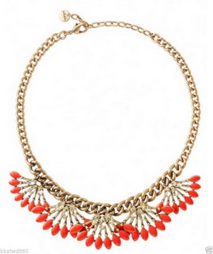STELLA & DOT CORAL CAY NECKLACE New in Box with barcode tag on side