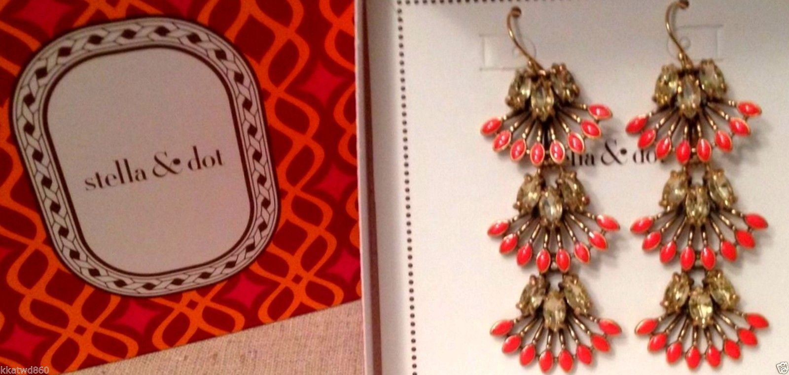 STELLA & DOT CORAL CAY EARRINGS New in Box with barcode tag on side