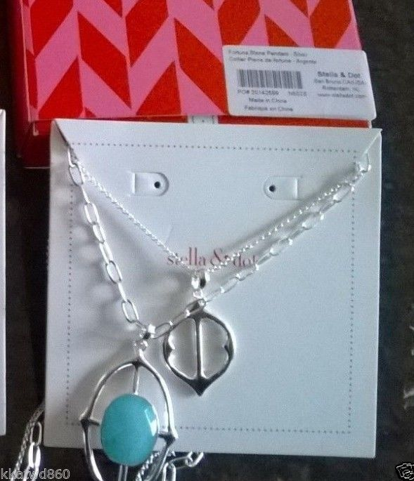 Stella & Dot FORTUNA STONE PENDANT NECKLACE SILVER Barcode tag box side of bx n