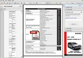 Suzuki Grand Vitara Xl7 2001   2006 Factory Oem Service Repair Workshop Manual - $14.95