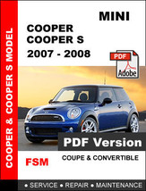 MINI COOPER 2007 2008 ULTIMATE OEM FACTORY SERVICE REPAIR WORKSHOP FSM M... - $14.95