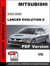 Mitsubishi Lancer Evolution 8 Viii 2003   2005 Service Manual+ Circuit Diagrams - $14.95