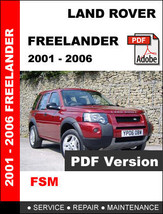 LAND ROVER FREELANDER 2001 - 2006 FACTORY OEM SERVICE REPAIR WORKSHOP FS... - $14.95