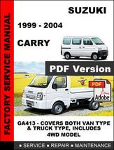 Suzuki Carry 1999   2004 Factory Oem Service Repair Workshop Maintenance Manual - $14.95