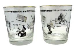 Sheffield History of Manufacture & Measurement Set of 2 Libbey Glasses B... - $20.99