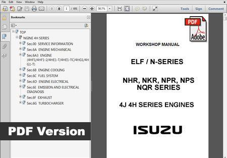 ISUZU ELF N-SERIES TRUCK FACTORY SERVICE REPAIR WORKSHOP MAINTENANCE FSM MANUAL