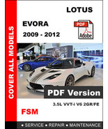 LOTUS EVORA 2009 - 2012 FACTORY SERVICE REPAIR ... - $14.95