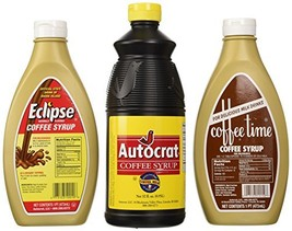 Coffee Syrup Sample Pack 1 Autocrat 32 Oz, 1 Eclipse 16 Oz and 1 Coffee Time Cof
