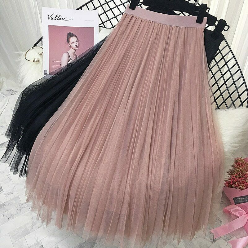 2019 Spring Summer Vintage Skirts Womens Elastic High Waist Tulle Mesh Skirt