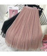 2019 Spring Summer Vintage Skirts Womens Elastic High Waist Tulle Mesh Skirt - $22.99