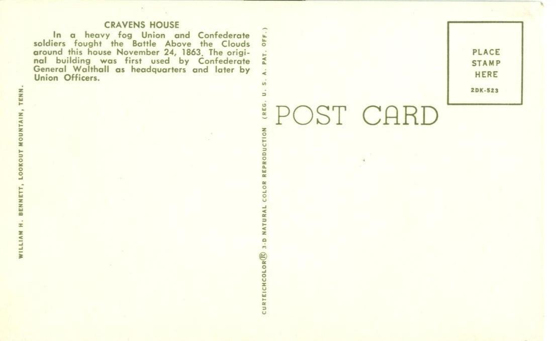Cravens House, unused Postcard