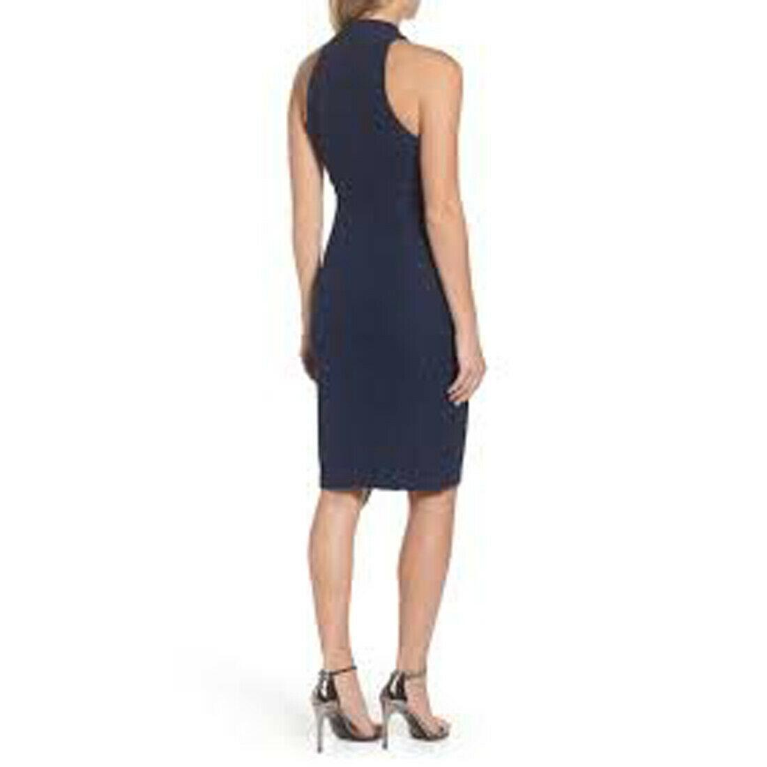 Eliza J Glitter Halter Neck Sheath Dress, Navy, 14