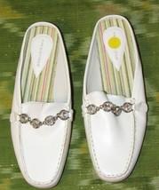 Predictions Women's White Rhinestone Chain Mules Slides Shoe Size: 7 M