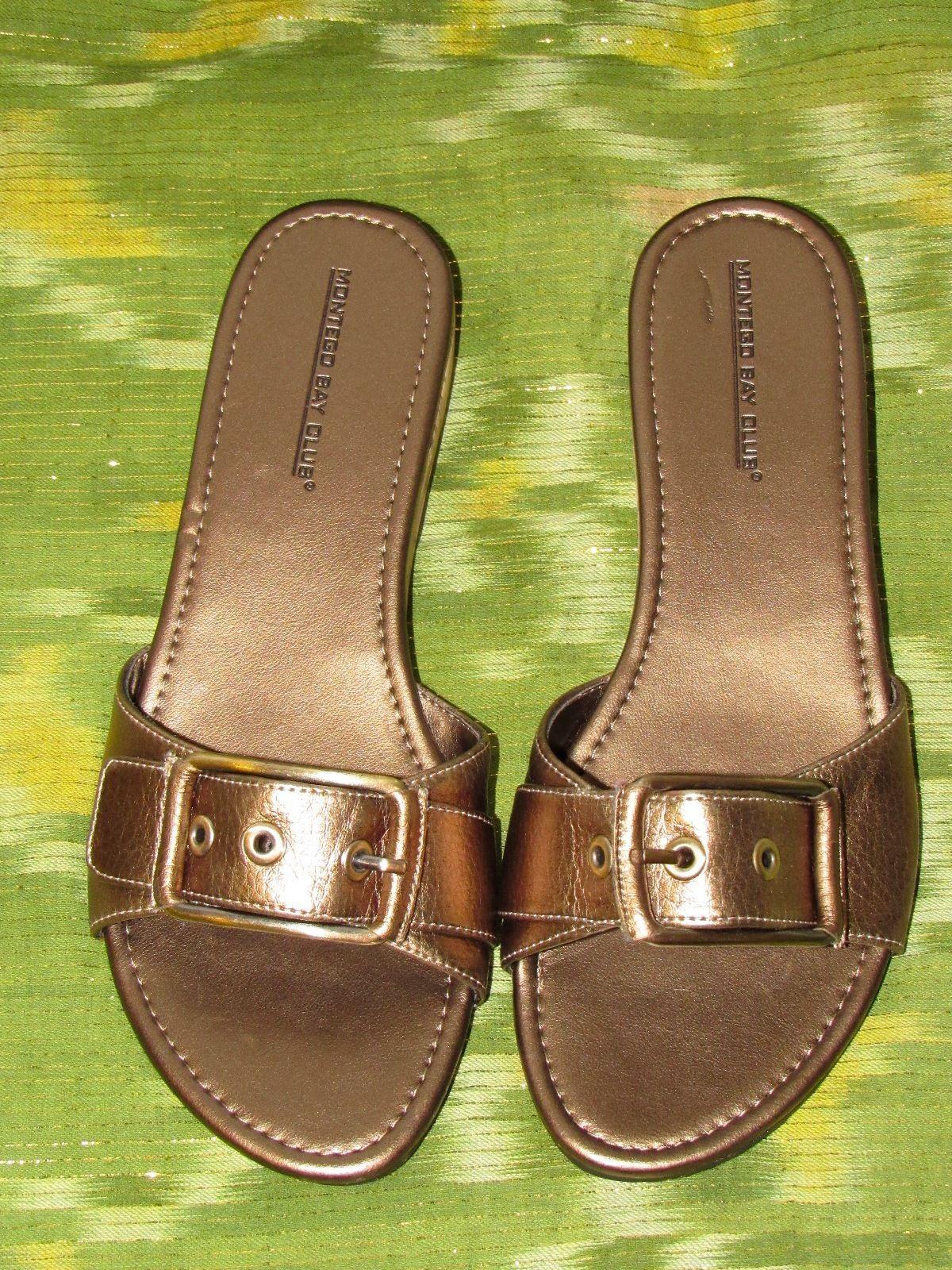 Montego Bay Club Solid Bronze Faux Leather Slides Slip On Buckle Sandal Low 7 M