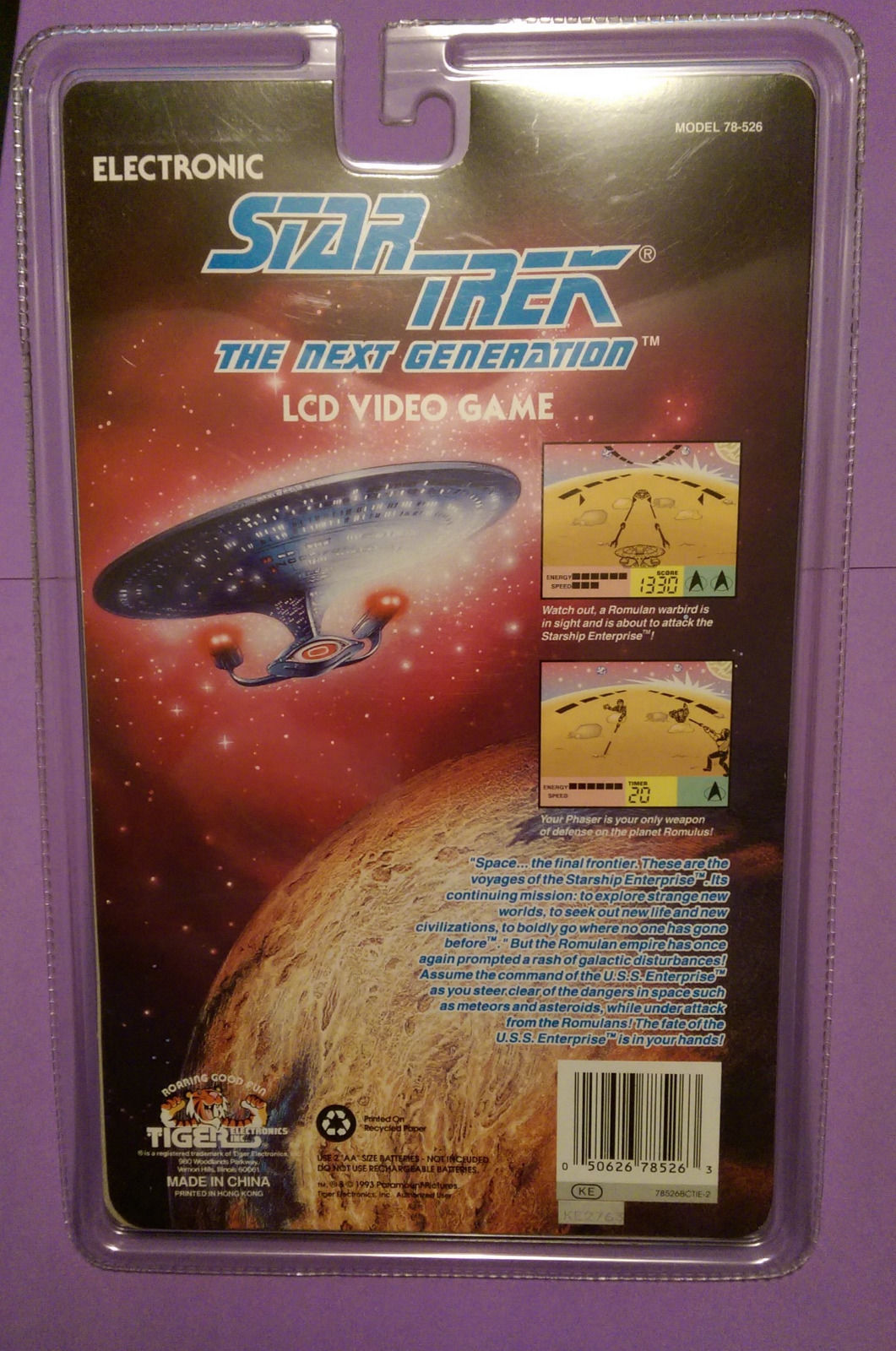 1993 STAR TREK NEXT GENERATION LCD HANDHELD VIDEO GAME TIGER ELECTRONIC NEW