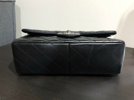 100% Authentic Chanel BLACK QUILTED LAMBSKIN JUMBO CLASSIC DOUBLE FLAP BAG SHW image 12
