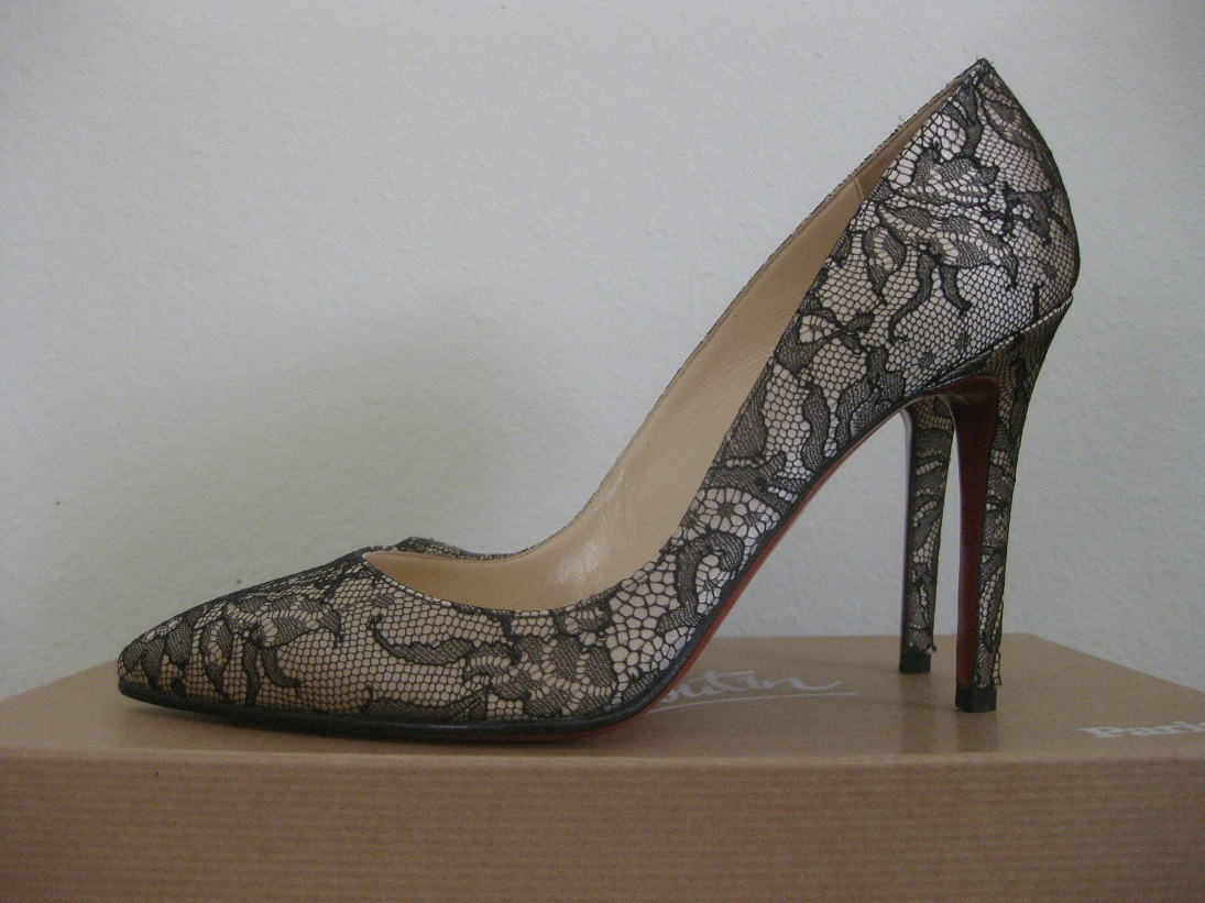 52b2866c7070 SOLD - Authentic Christian Louboutin PIGALLE 100 Black Lace Nude Satin Size  37