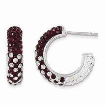 STERLING SILVER SWAROVSKI CRYSTAL ALABAMA RED & WHITE HOOP POST EARRINGS  - $128.21