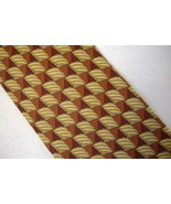 Valentino Cravatte Neck Tie 100% Silk Handmade Brown Gold Rust Geometric... - $28.00