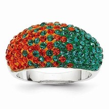 STERLING SILVER RING - SWAROVSKI CRYSTAL U OF MIAMI GREEN & ORANGE - SIZE 7 - $122.63