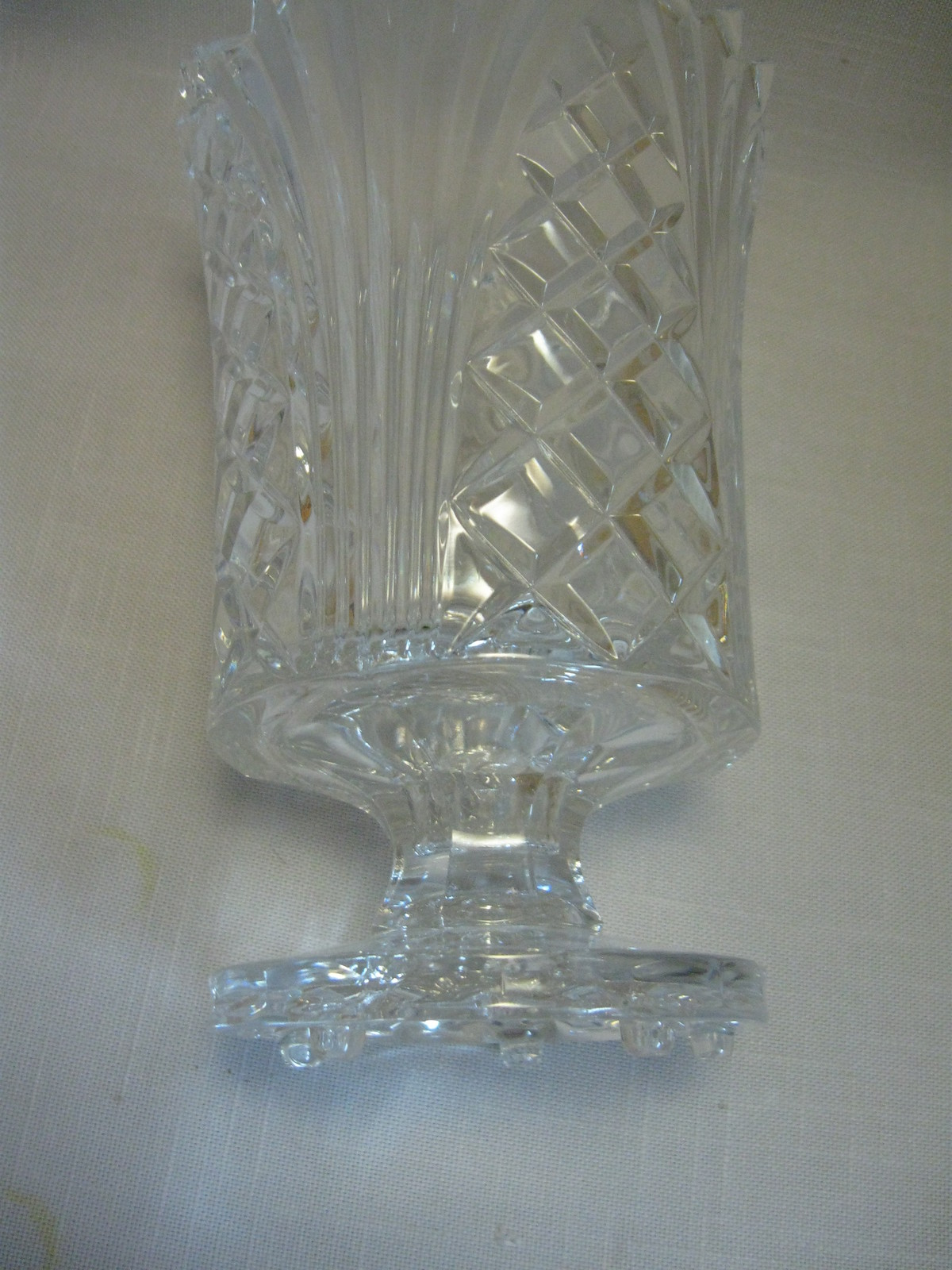 Crystal Glass Fifth Avenue Hurricane Candle Stick Holder Candy Dish Vase Crystal