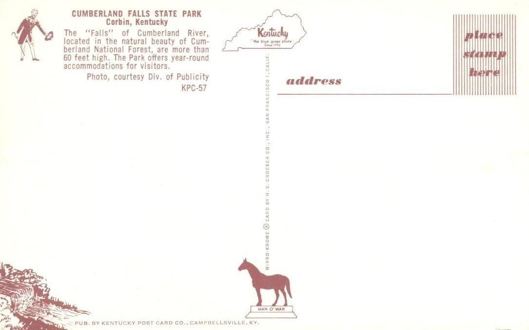 Cumberland Falls State Park, Corbin, Kentucky, unused Postcard