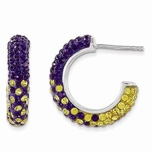 STERLING SILVER SWAROVSKI CRYSTAL LSU PURPLE & GOLD HOOP POST EARRINGS  - $128.21