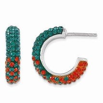 STERLING SILVER SWAROVSKI CRYSTAL U OF MIAMI GREEN & ORANGE HOOP POST EA... - $128.21