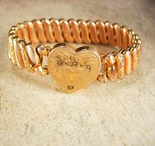 Antique Rose gold Victorian bracelet Heart locket vintage bracelet Sweet... - $125.00