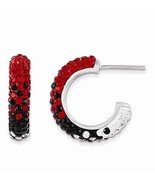 STERLING SILVER SWAROVSKI CRYSTAL U OF GEORGIA BULLDOGS HOOP POST EARRINGS  - $128.21
