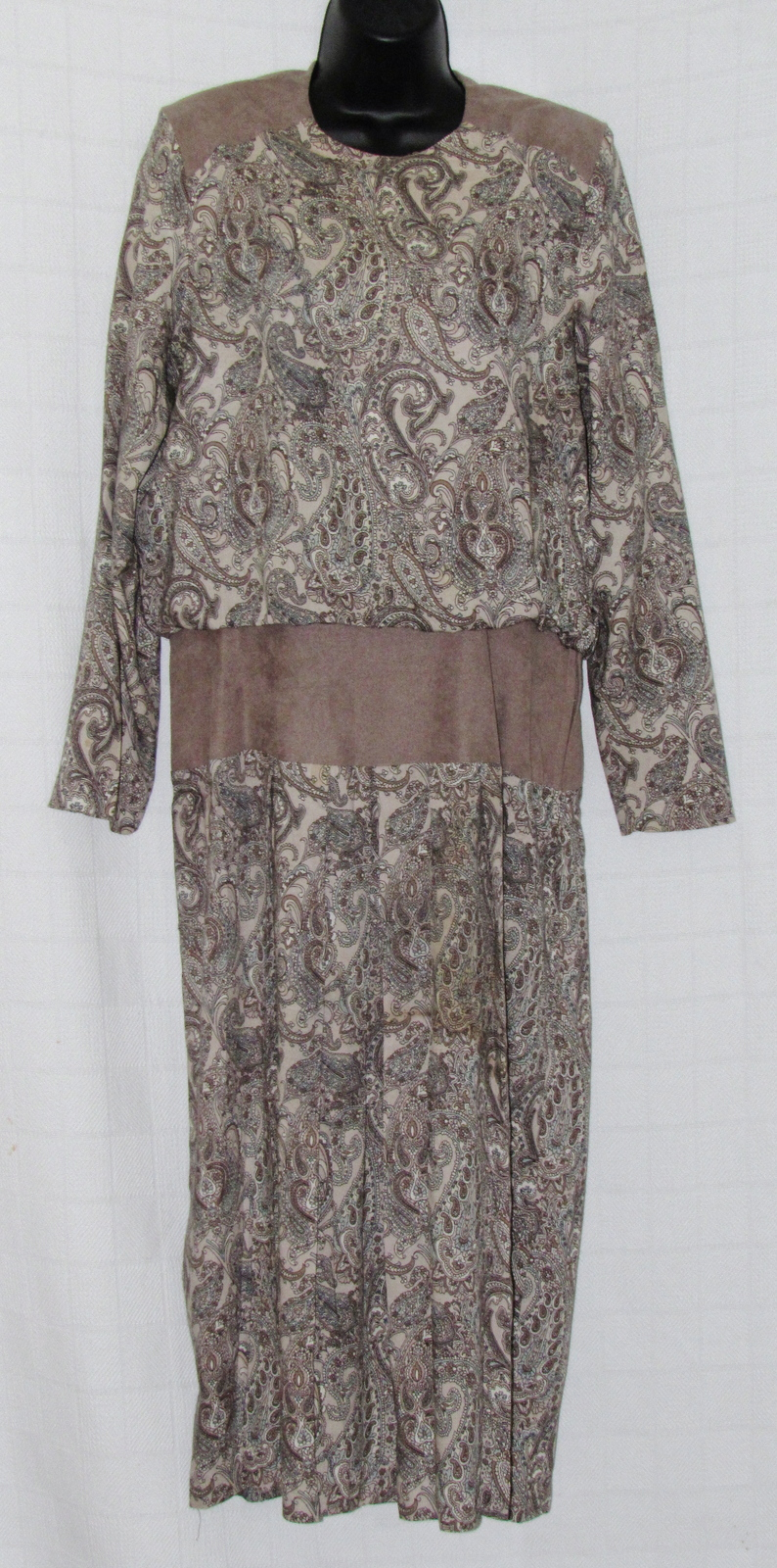 Jessica Cole Vintage Women's Dress Paisley Pattern Rayon Tan Suede Trim S: 14