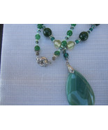 Beautiful Green Agate pendant necklace and earring set - $47.00