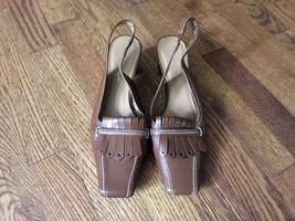 Etienne Aigner Brown Leather Eberhart Tan Slink... - $21.49