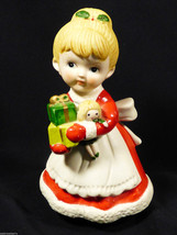 "Vintage Homco Label Christmas Girl & Holiday Gifts Original  5.75"" Figurine - $13.86"