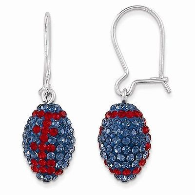 STERLING SILVER MISSISSIPPI OLE MISS REBELS SWAROVSKI CRYSTAL FOOTBALL EARRINGS