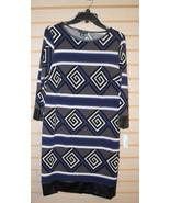 NEW JBS WOMENS SIZE 3X 3XL MODERN GEOMETRIC BLACK BLUE GEOMETRIC STRIPED... - $19.35